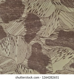 Custom camouflage texture pattern, horizontal pale green tan taupe brown textured camo background, old aged weathered cotton twill fabric field work parka, beige khaki, large detailed macro closeup