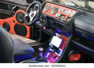 custom car interior with audio system and lcd display