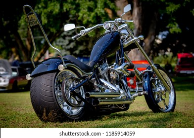 Custom Classic Harley Davidson Motorcycle at the Crofton Nebraska USA  Classic Car Show August 25, 2018