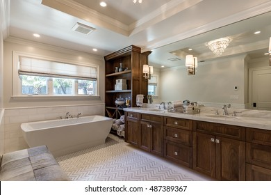 Custom Clean Bathroom with large soaking tub