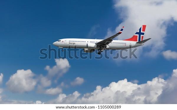 Custom Commercial Passenger Aircraft Norwegian Flag Stock