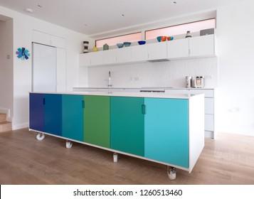 Custom Designed Kitchen Island In Painted MDF, In Open Plan Kitchen On  Industrial Castor Wheels