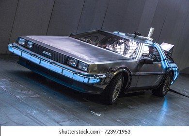 Custom fan made Delorean car from Back to The Future on display at London Film and Comic Con 2017, 29/07/17