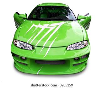 Custom green street racer with doors open