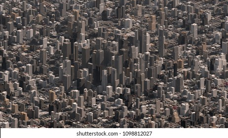 Custom high resolution 3D render of city with skyscraper buildings with a parallel camera lens view.