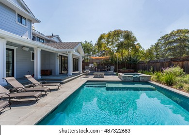 Custom Home, Menlo Park, Back Yard Pool