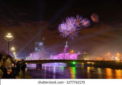 Custom House Dublin, Ireland - January 1, 2019 new year fireworks