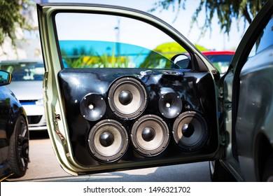 Custom made car speakers, installed in car door.