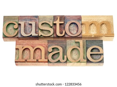 custom made - isolated words in vintage letterpress wood type printing blocks