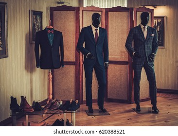 Custom made shoes and suits in tailor studio