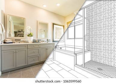 Custom Master Bahroom Design Drawing with Cross Section of Finished Photo.