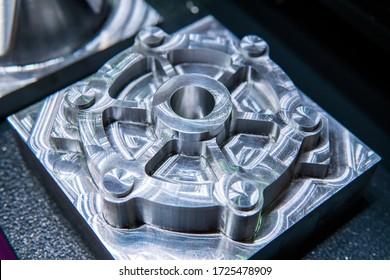 Custom metal part manufactured in CNC milling machine