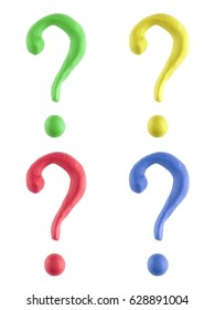 A custom question mark hand made out of plasticine in four different colors. This unique character is isolated on a white background.