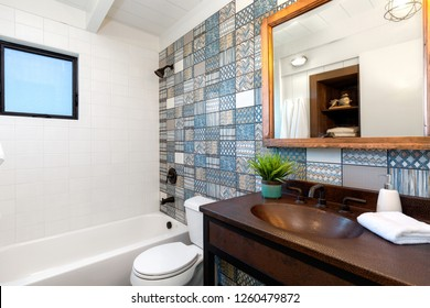 Custom Tile work in Bathroom with Copper Sink