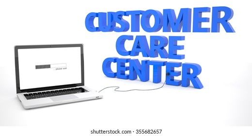 Customer Care Center - laptop notebook computer connected to a word on white background. 3d render illustration.