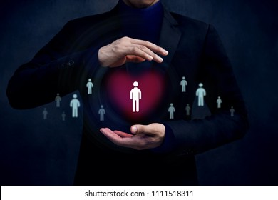 Customer Care Concept. Company Protect and Support thire Clients with Mind, Human icon on Heart shape inside a Protected Hands of Businessman