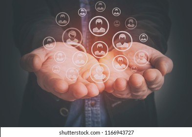 Customer care, care for employees, human resources, employment agency and marketing segmentation concepts.
