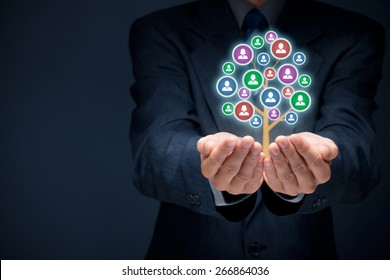 Customer care, care for employees, human resources, life insurance, employment agency and marketing segmentation concepts.