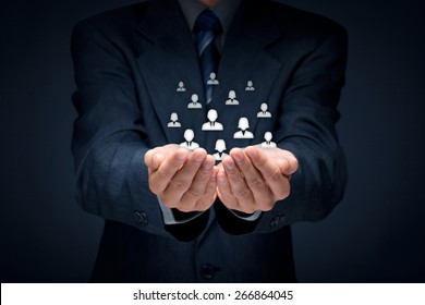 Customer care, care for employees, human resources, life insurance, employment agency and marketing segmentation concepts. Central composition.