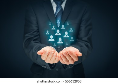 Customer care, care for employees, human resources, employment agency and marketing segmentation concepts. Leader manage his team. Central composition.