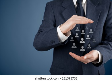 Customer care, care for employees, labor union, life insurance and marketing segmentation concepts. Protecting gesture of businessman or personnel and icons representing group of people.
