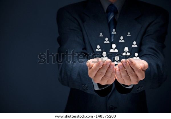 Customer care, care for employees, labor union, CRM, and life insurance concepts. Protecting gesture of businessman or personnel and glass cubes with icons representing group of people.