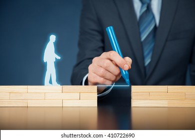 Customer care and support (help) and life insurance concept concept. Businessman representing company helps (support) customer (client) to overcome an obstacle. Problem solving with simple solutions.