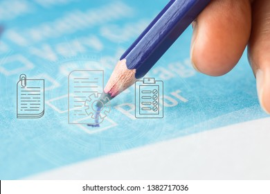 Customer checklist survey exellent form for feedback satisfaction mark over application blue forms document with black pencil. Opinion question circle botton for filling checkmark for business