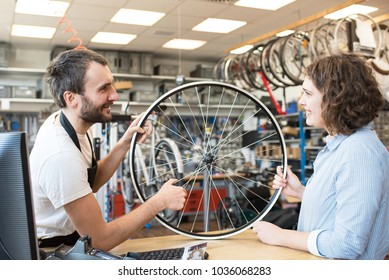 customer and dealer in bicycle shop - purchase and repair of bicycles - customer service