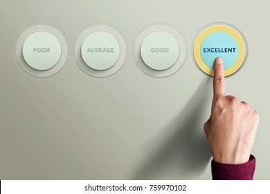 Customer Experience Concept, Best Excellent Services Rating for Satisfaction present by Finger Hand pressing a Button