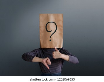 Customer Experience Concept. Client Woman with Question Mark Icon on Paper Bag has Confused to Feedback Review Between Positive and Negative