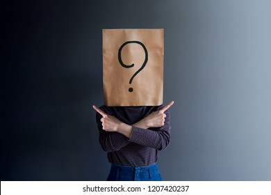 Customer Experience Concept. Client Woman has Confused, Question Mark Icon on Paper Bag