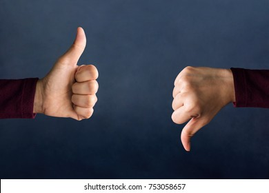 "Customer Experience Concept, Hands of Client show Excellent and Bad sign with Thumbs for Rating in Satisfaction Survey, Symbol of Meaning ""Great"" and ""Poor"""