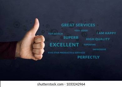 """Customer Experience Concept. Happy Client show Thumb Up in meaning """"Great"""" over Positive Reviews and Social icons. Best Excellent Services for Satisfaction Survey Online"""