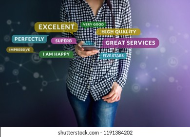 Customer Experience Concept. Happy Client using Smart Phone to Reading Positive Review or Feedback her Satisfaction Online Survey, Surrounded by Speech Bubble and Social Network icons