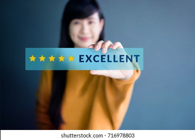 Customer Experience Concept, Happy Woman Show Excellent Rating with Five Star icon for her Satisfaction on transparent label