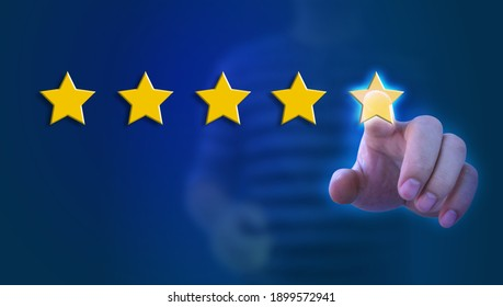 Customer Experience Concept man hand showing on five star excellent rating on background