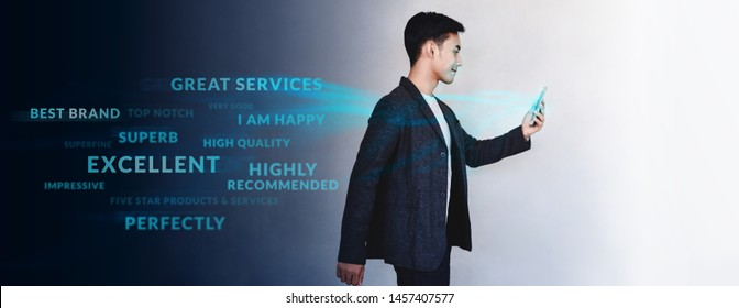 Customer Experience Concept. Technology in Brand Mangement and Strategy. Young Motivation Businessman Walking and Reading Positive Online Review via Smartphone. Lifestyle of Modern People