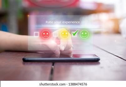 customer experience concept.close-up of female hands using mobile phone