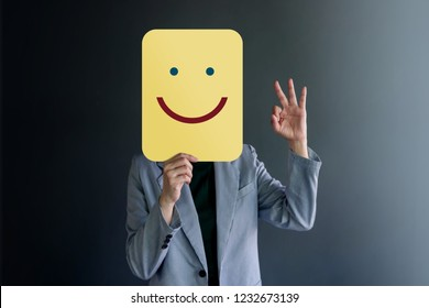 Customer Experience or Human Emotional Concept. Woman Covered her Face by Paper and present Happy Feeling by Drawn Line Cartoon and Body Language