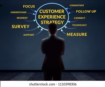 Customer Experience Strategy Concept. Blurred Businessman in Back Side standing in front of the Wall with Diagram