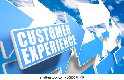 Customer Experience - text concept with blue and white arrows flying in a blue sky with clouds - 3d render illustration