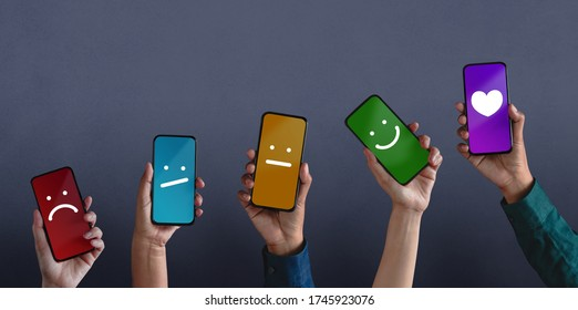 Customer Experiences Concept. Group of Diversity People Giving Feedback via Mobile Phone, from Negative to Positive Review. Poor to Excellent. Client's Satisfaction Surveys on Mobile Phone