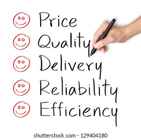 customer hand evaluate happy on price quality delivery reliability and efficiency