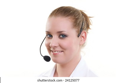 Customer with headset smiling during a telephone conversation
