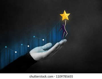 Customer Journey or Business Success Concept. Hand Raised and Support Human Shape with Care to Reach a Golden Star, Diagram Graph as background
