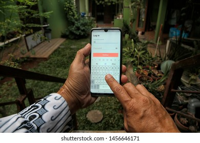 A customer is logged in to Shutterstock in Bekasi, West Java, Indonesia, on July 20, 2019.