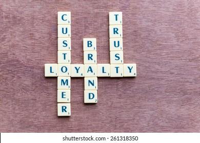 customer loyalty crossword blocks on the wooden background