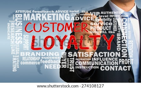 customer loyalty with related word cloud handwritten by businessman