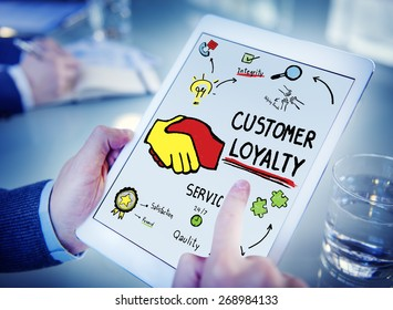 Customer Loyalty Service Support Care Trust Hand Concept